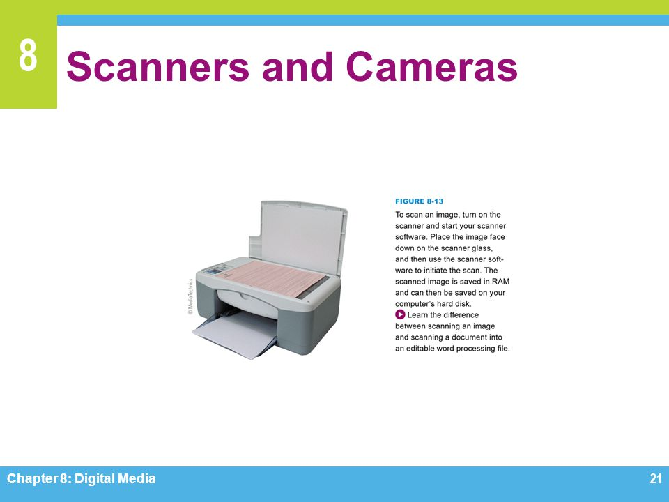 Scanners and Cameras Figure 8-13 Chapter 8: Digital Media