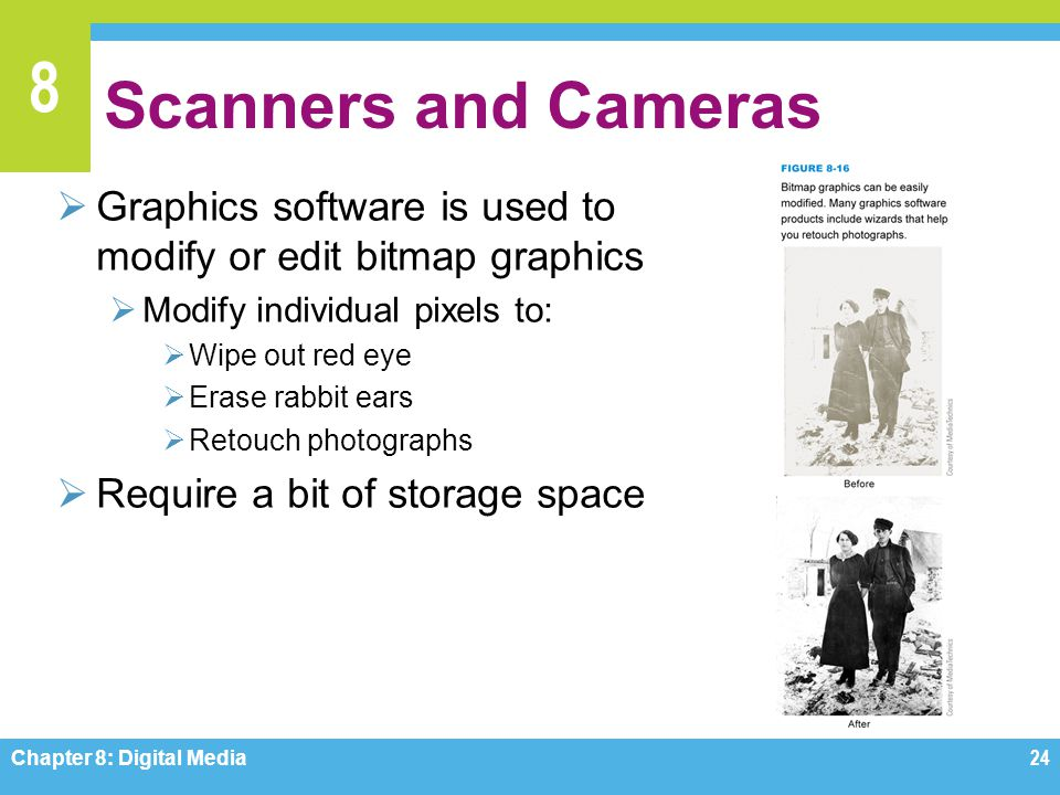 Scanners and Cameras Graphics software is used to modify or edit bitmap graphics. Modify individual pixels to:
