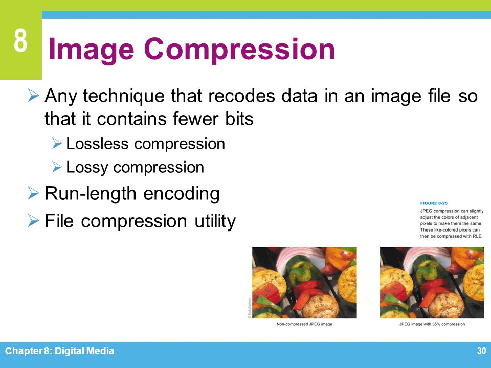 Image Compression Any technique that recodes data in an image file so that it contains fewer bits. Lossless compression.