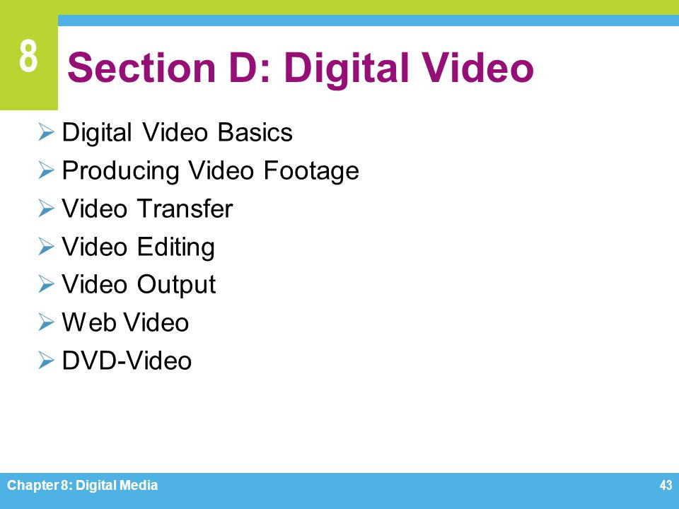 Section D: Digital Video