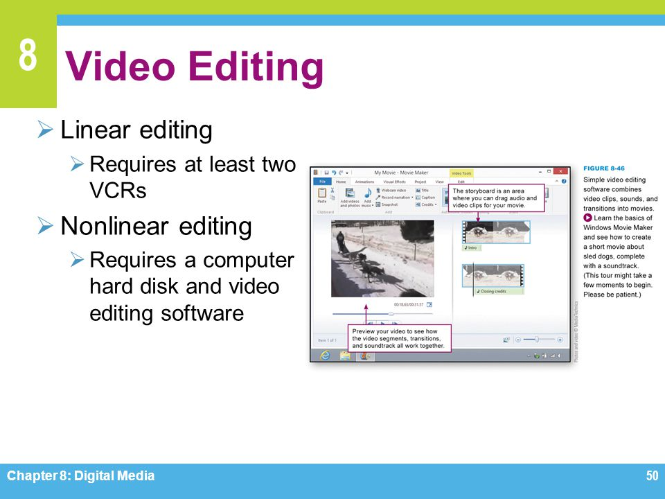 Video Editing Linear editing Nonlinear editing