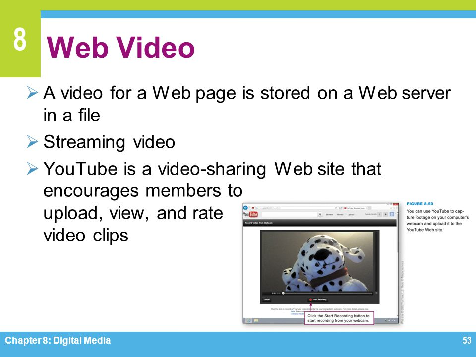Web Video A video for a Web page is stored on a Web server in a file