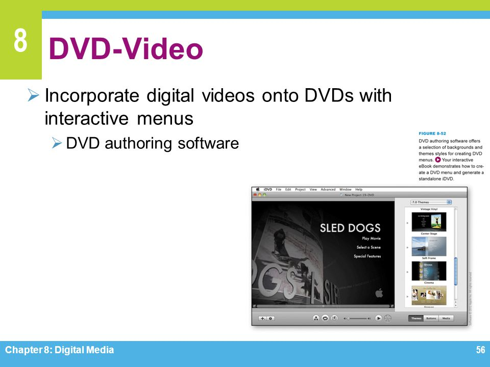 DVD-Video Incorporate digital videos onto DVDs with interactive menus