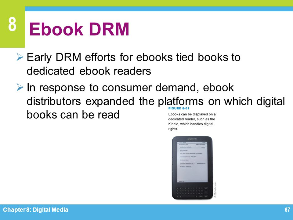 Ebook DRM Early DRM efforts for ebooks tied books to dedicated ebook readers.