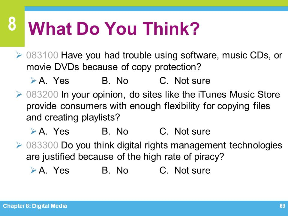 What Do You Think 083100 Have you had trouble using software, music CDs, or movie DVDs because of copy protection
