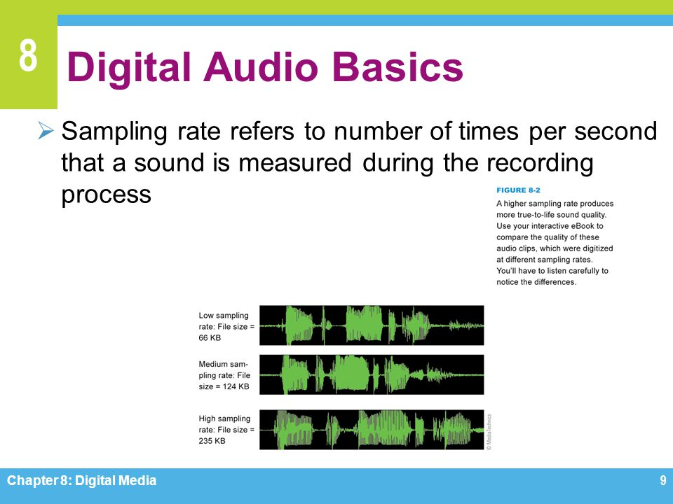 Digital Audio Basics Sampling rate refers to number of times per second that a sound is measured during the recording process.