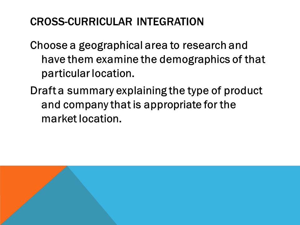 Cross-Curricular Integration
