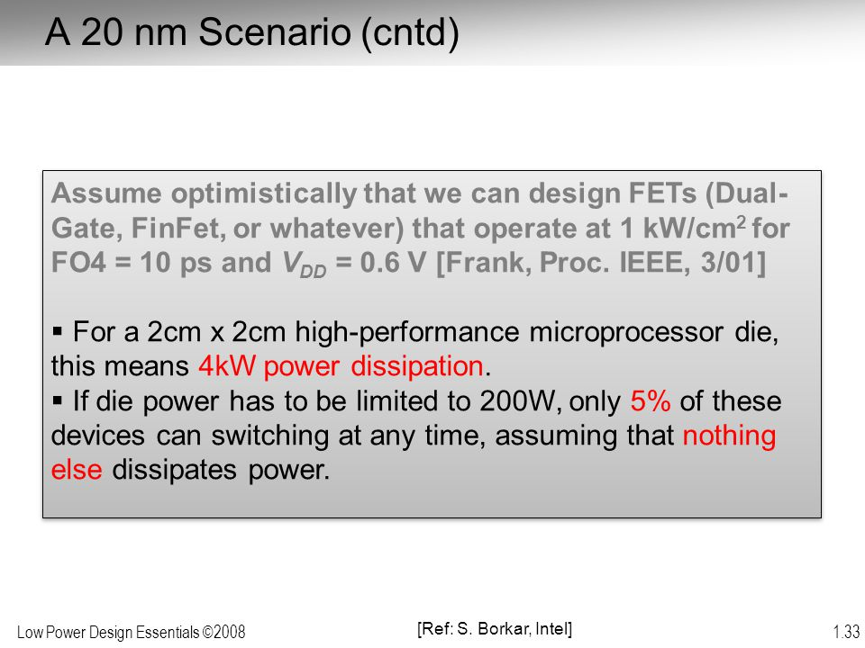 A 20 nm Scenario (cntd)