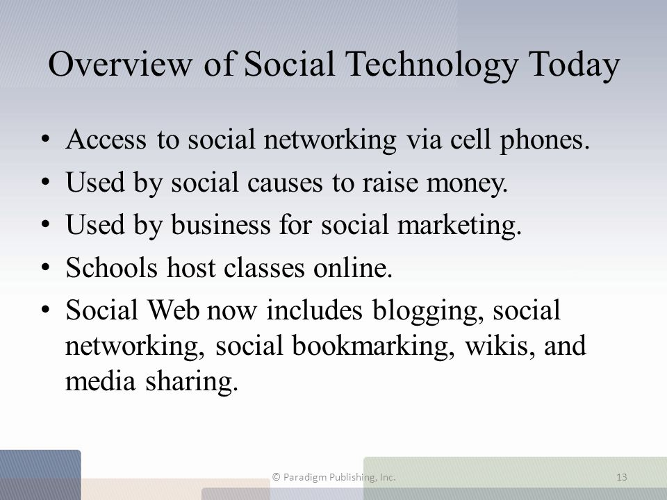 Overview of Social Technology Today