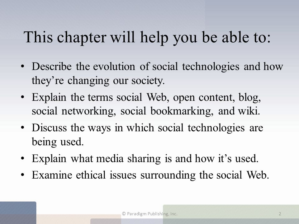 This chapter will help you be able to: