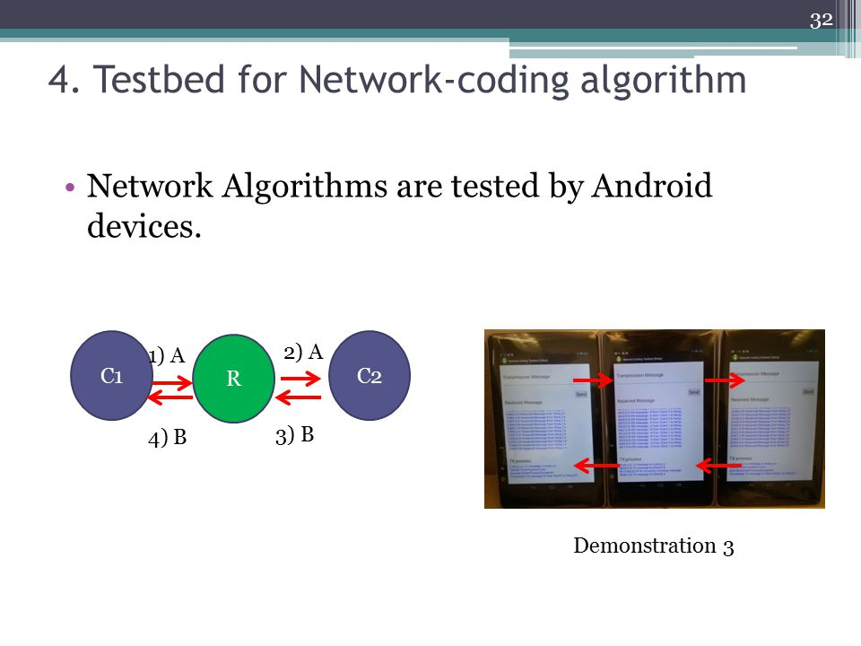 4. Testbed for Network-coding algorithm