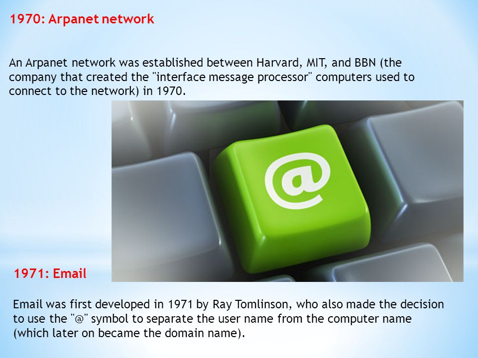 1970: Arpanet network 1971: