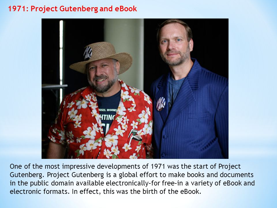 1971: Project Gutenberg and eBook