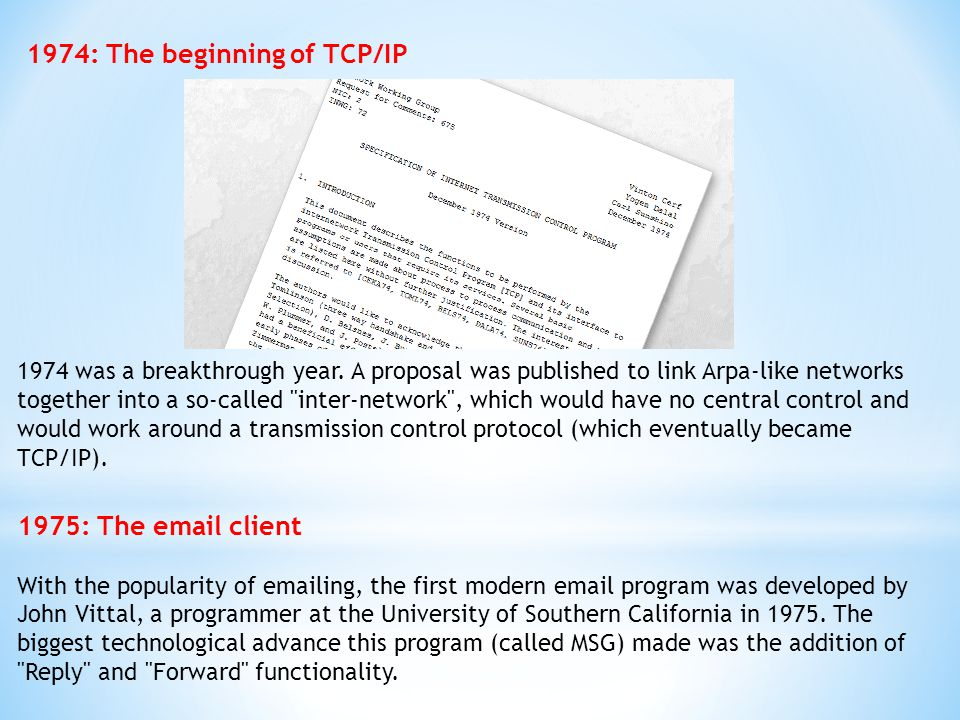1974: The beginning of TCP/IP