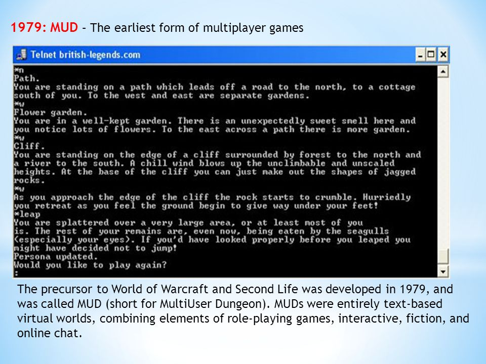 1979: MUD – The earliest form of multiplayer games