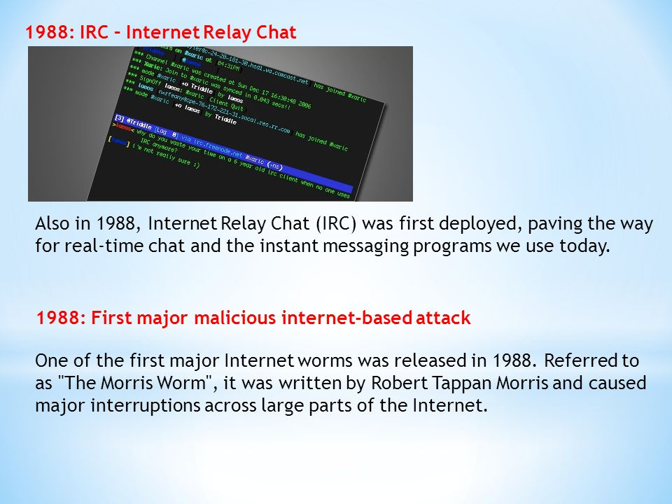 1988: IRC – Internet Relay Chat