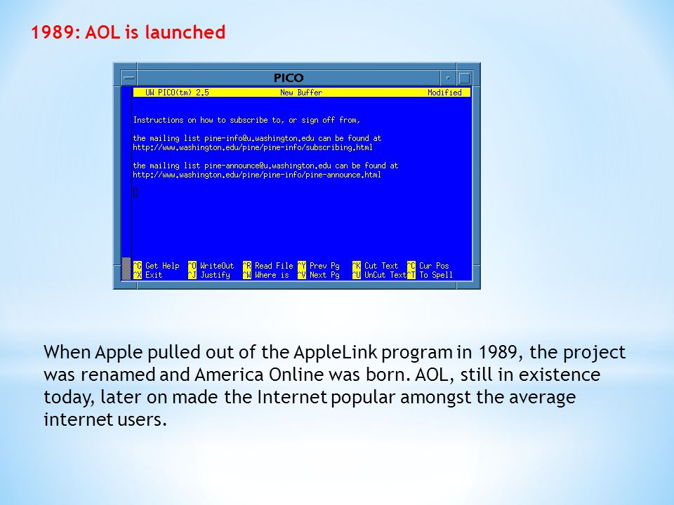 1989: AOL is launched