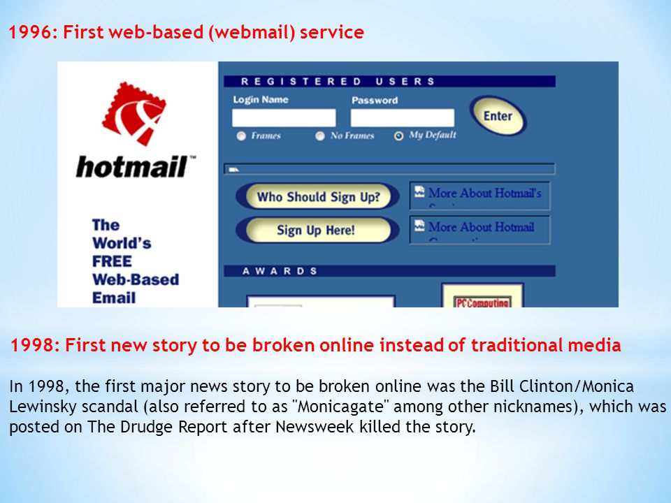 1996: First web-based (webmail) service