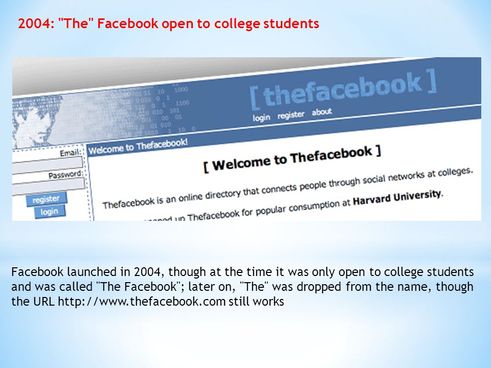 2004: The Facebook open to college students