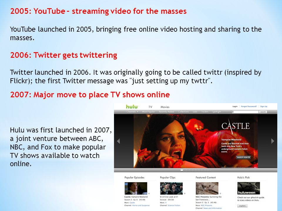 2005: YouTube – streaming video for the masses