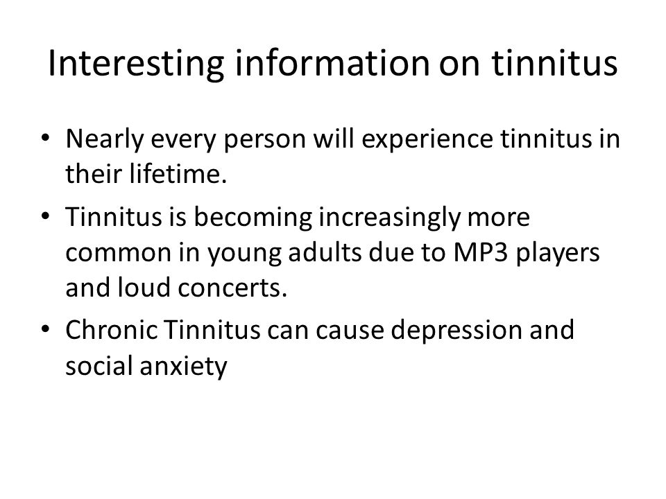Interesting information on tinnitus