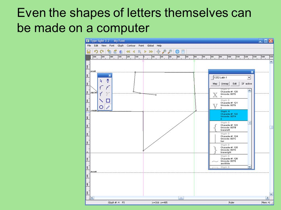 Even the shapes of letters themselves can be made on a computer