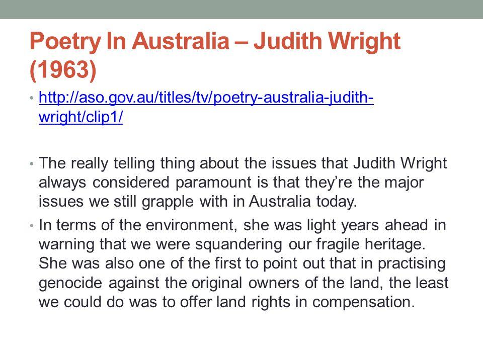 Poetry In Australia – Judith Wright (1963)