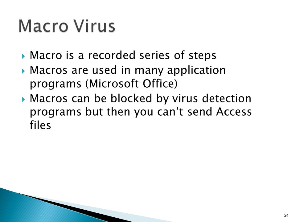 Macro Virus Macro is a recorded series of steps