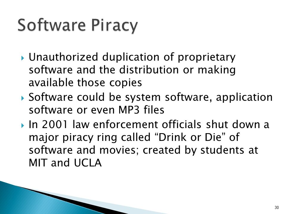 Software Piracy Unauthorized duplication of proprietary software and the distribution or making available those copies.