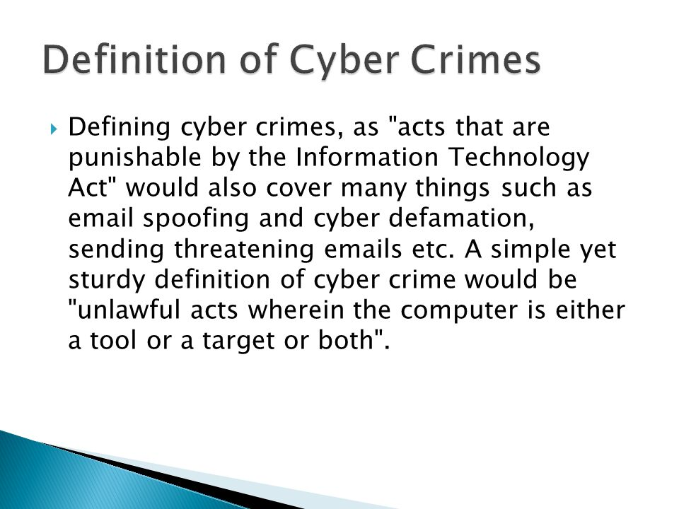 Definition of Cyber Crimes
