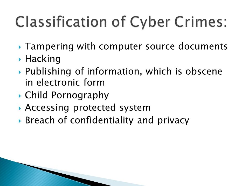 Classification of Cyber Crimes: