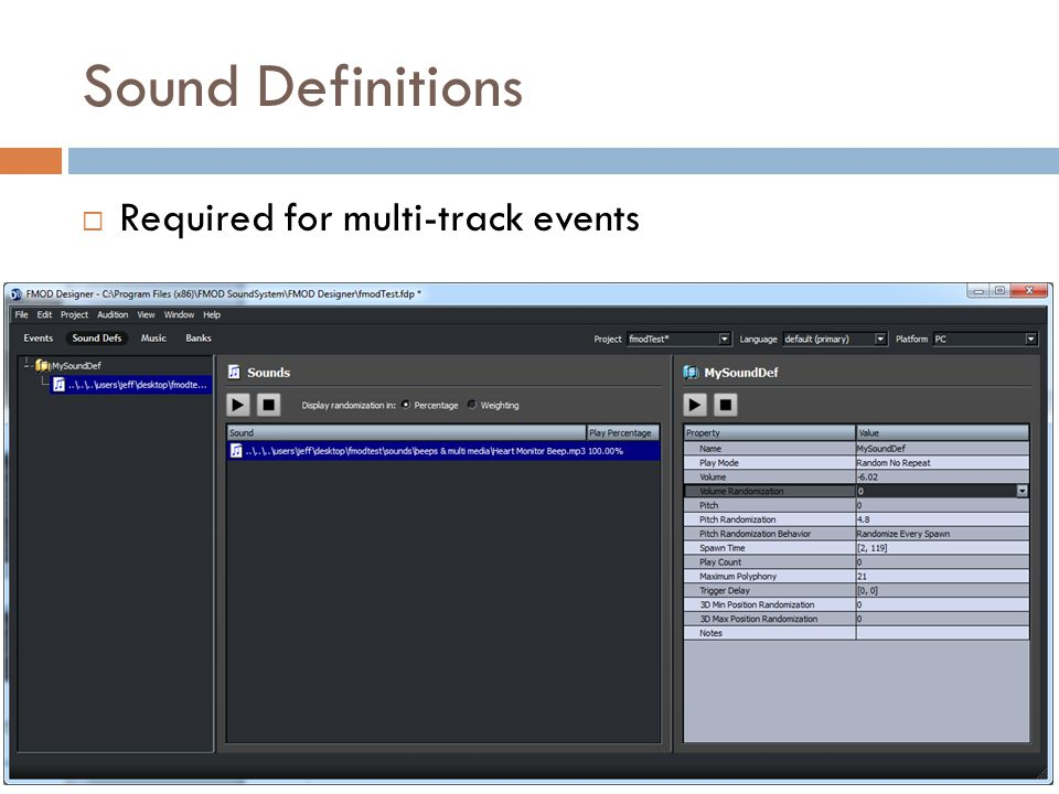 Sound Definitions Required for multi-track events