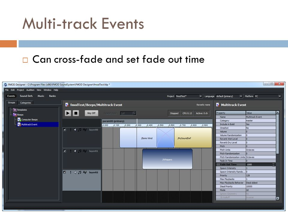 Multi-track Events Can cross-fade and set fade out time