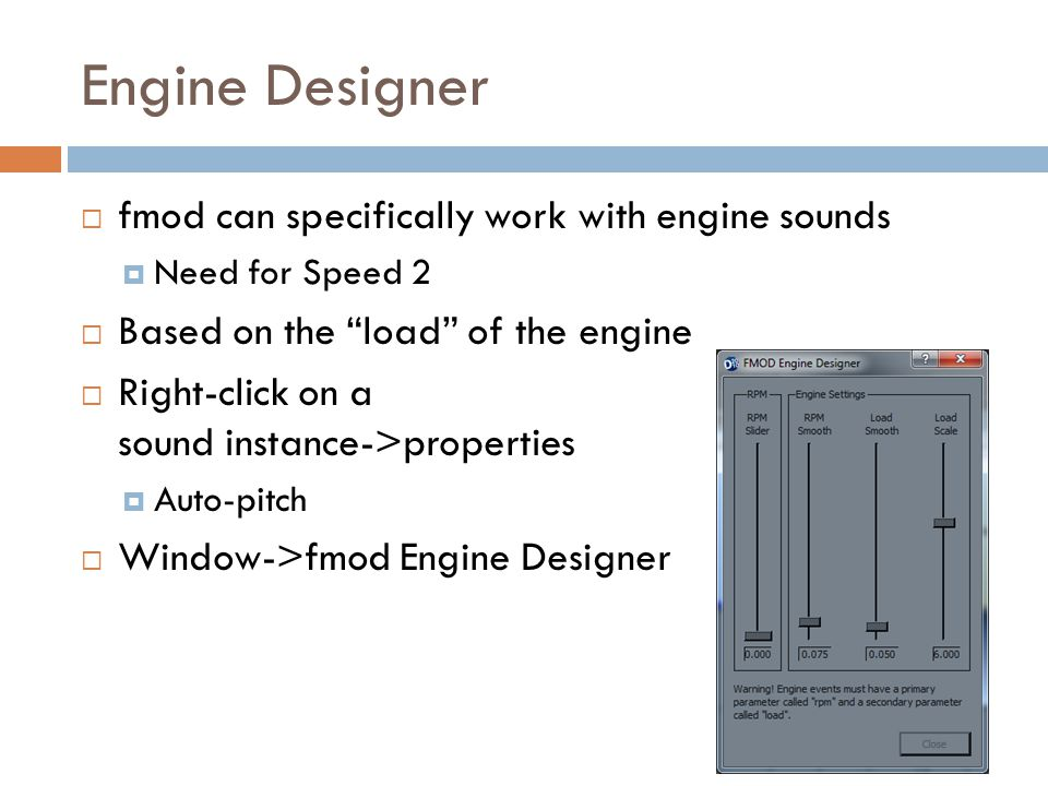 Engine Designer fmod can specifically work with engine sounds