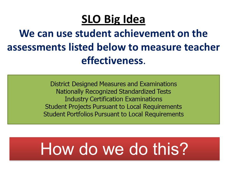 How do we do this SLO Big Idea