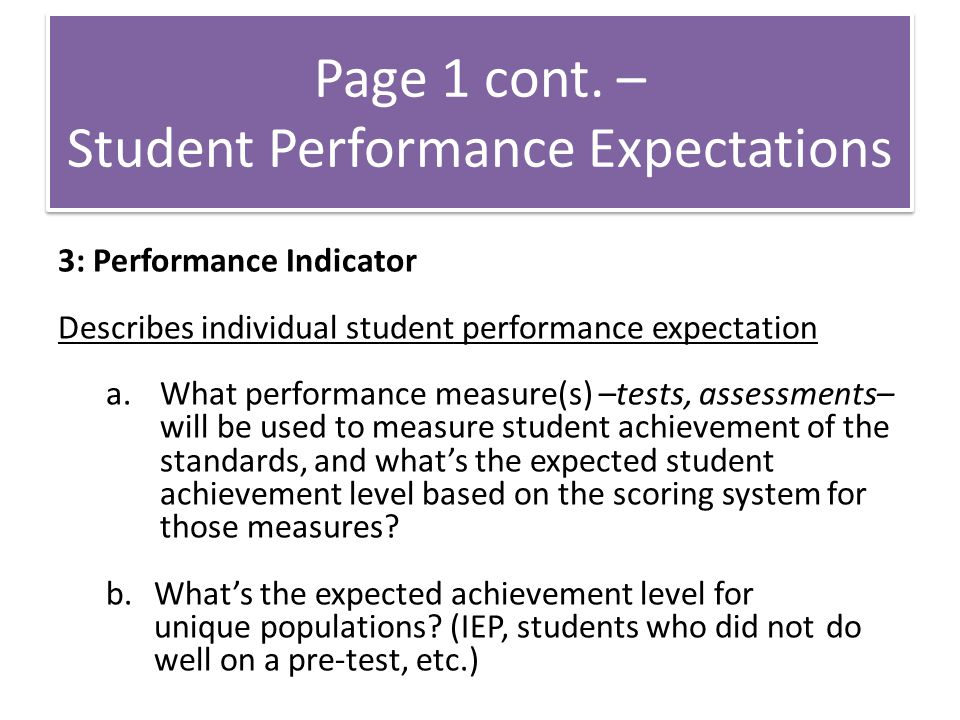 Student Performance Expectations
