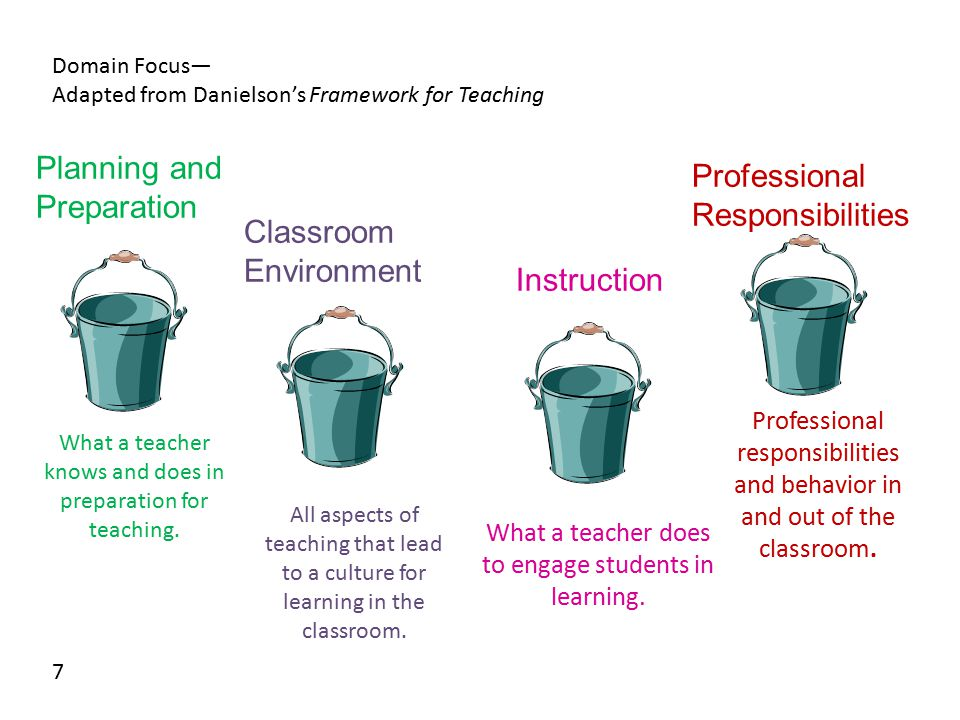 Planning and Preparation Professional Responsibilities Classroom