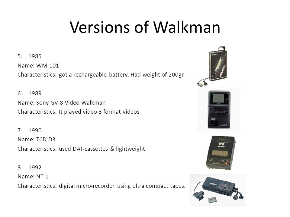 Versions of Walkman 1985 Name: WM-101