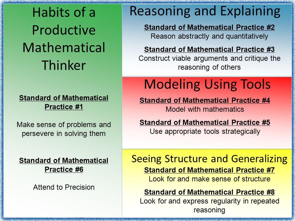 Habits of a Productive Mathematical Thinker Reasoning and Explaining