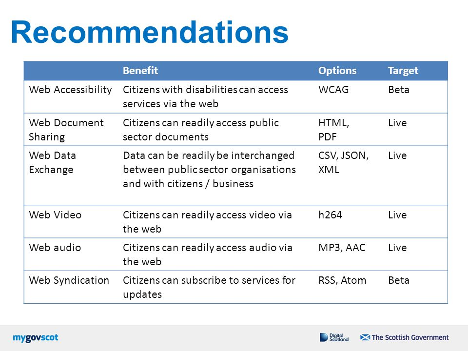 Recommendations Benefit Options Target Web Accessibility