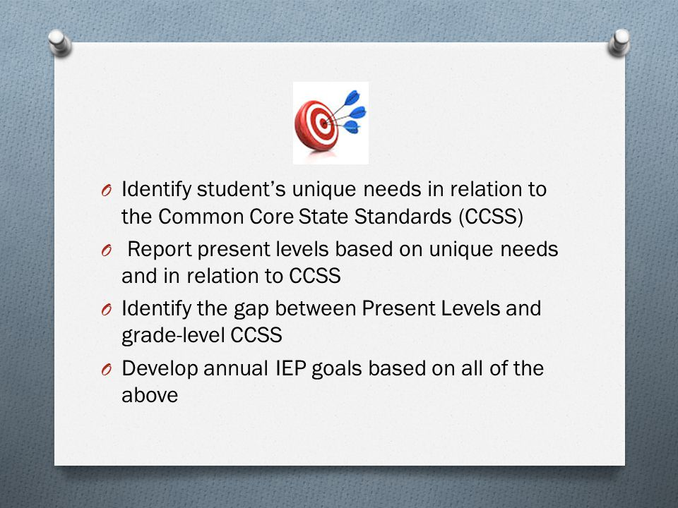 Report present levels based on unique needs and in relation to CCSS
