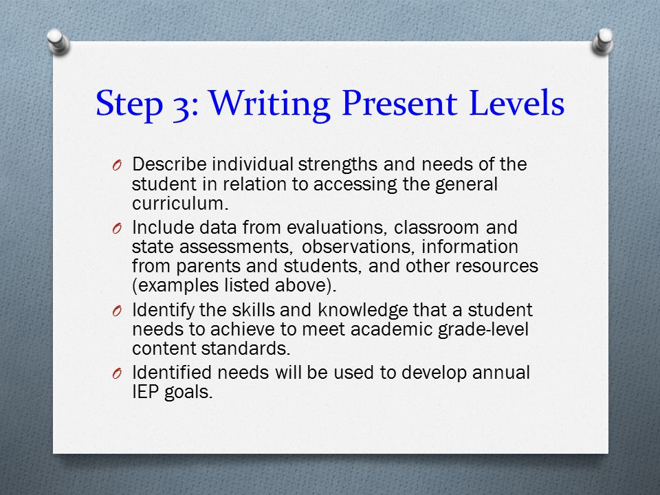 Step 3: Writing Present Levels