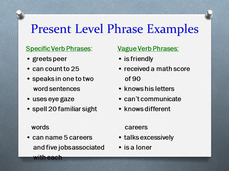 Present Level Phrase Examples