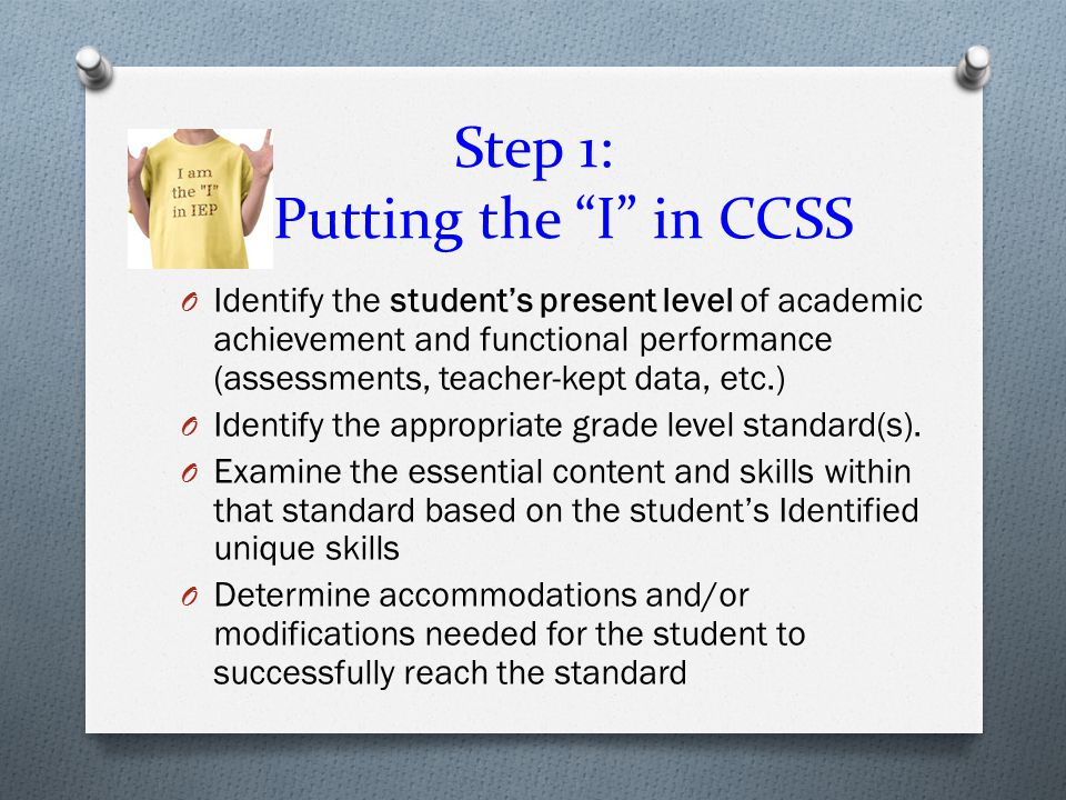 Step 1: Putting the I in CCSS