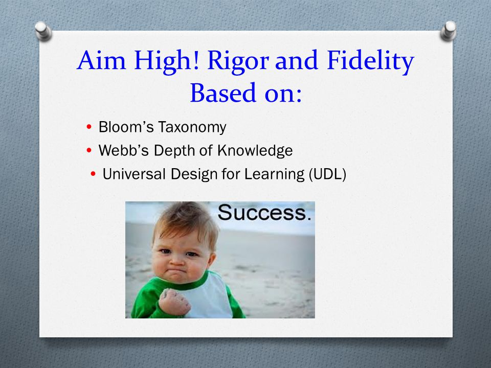Aim High! Rigor and Fidelity Based on: