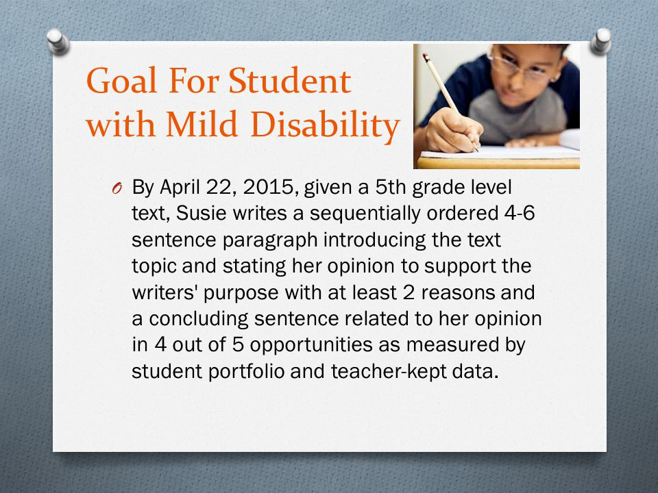 Goal For Student with Mild Disability