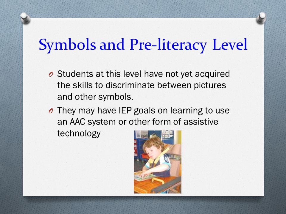 Symbols and Pre-literacy Level