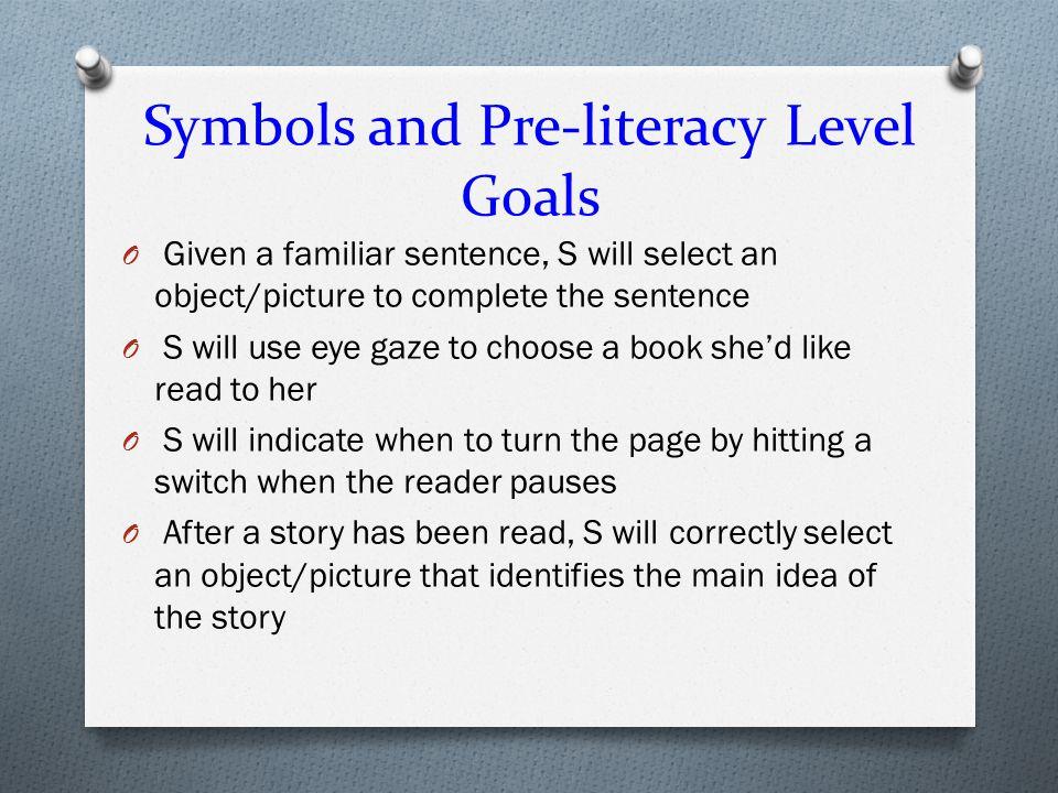 Symbols and Pre-literacy Level Goals