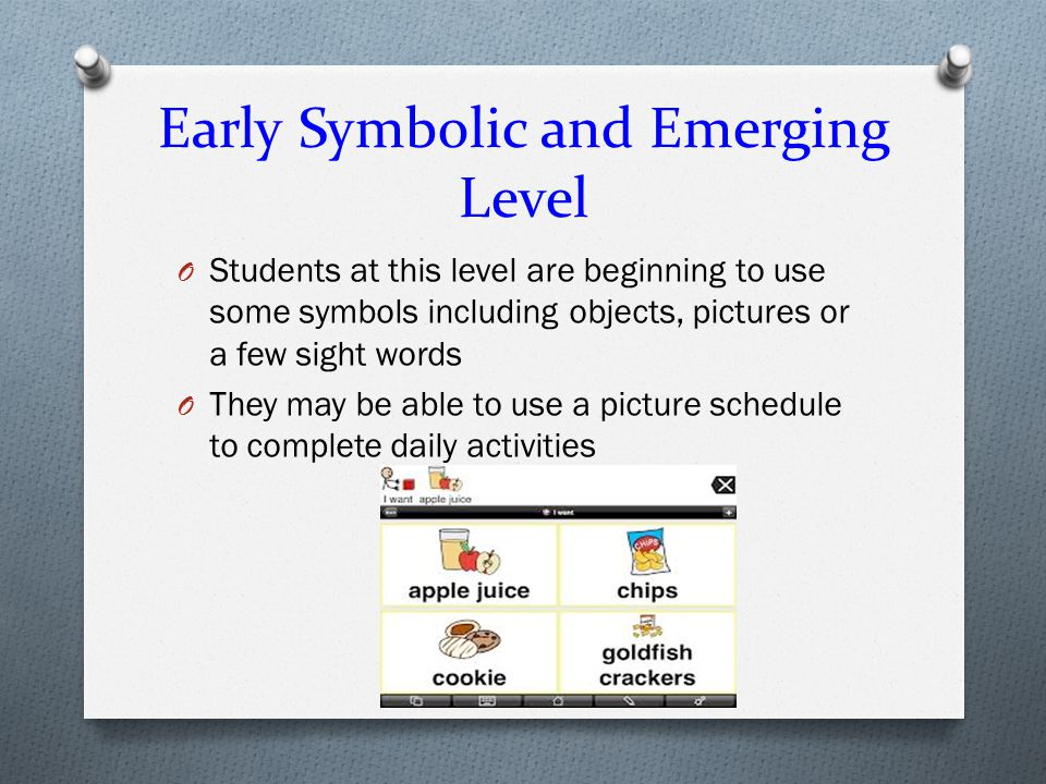 Early Symbolic and Emerging Level
