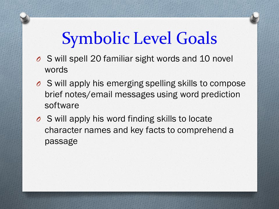 Symbolic Level Goals S will spell 20 familiar sight words and 10 novel words.